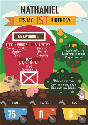Birthday Poster-11 Farm Theme